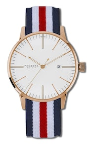White dial, PVD rose gold case, NATO Red, White, Blue strap B44-03DN1 (+$10)