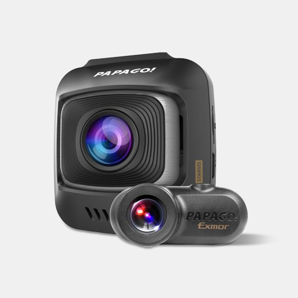 Papago GoSafe S780 2-Channel Dash Camera Dual-Channel HD Video & Driver-Assist Features -- Outfitted with a professional Sony Starvis sensor, the GoSafe S780 records in 150-degree wide angle 1080p HD in front, and 180-degree wide angle HD in the rear. The result? Crisp, clear HD footage of anything you encounter at the wheel. With the built-in G-sensor, the cam will automatically save your video files in the event of a crash. You can even view the feed from both cameras side by side with the split screen feature. Other key features include high-temperature battery protection, stop sign recognition, a driver fatigue alarm, and a lifetime of firmware upgrades as the product gets better over time. It even comes with a microSD card to get you started. If you want to connect the dash cam to GPS or to your tire pressure, there are accessories to do so as well.