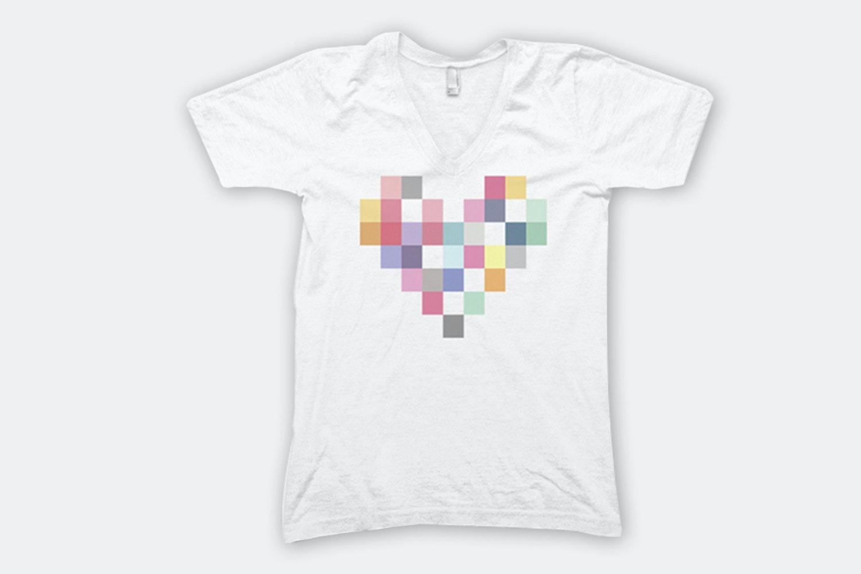 Patchwork Heart – White (V-Neck)