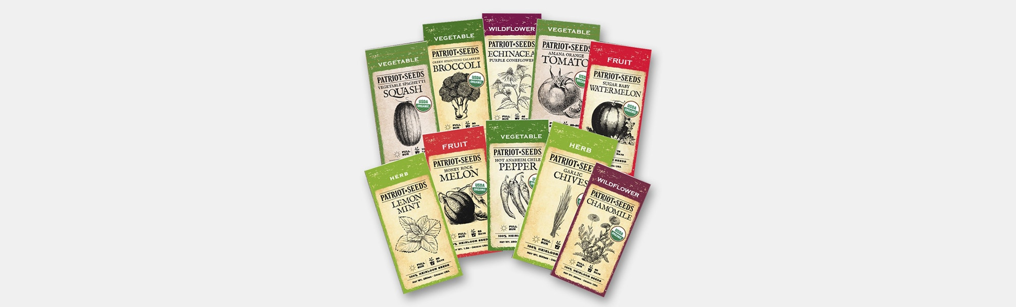 Patriot Seeds 100 Heirloom Seed Packets