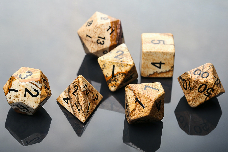 Picture Jasper Polyhedral Dice Set