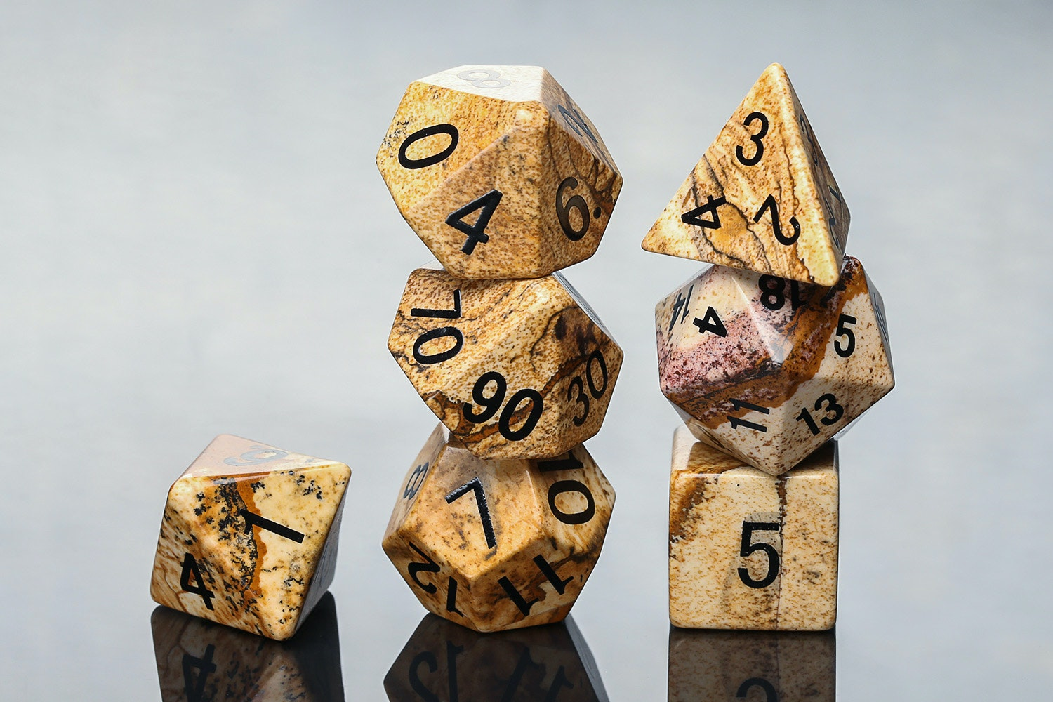 Picture Jasper Polyhedral Dice Set