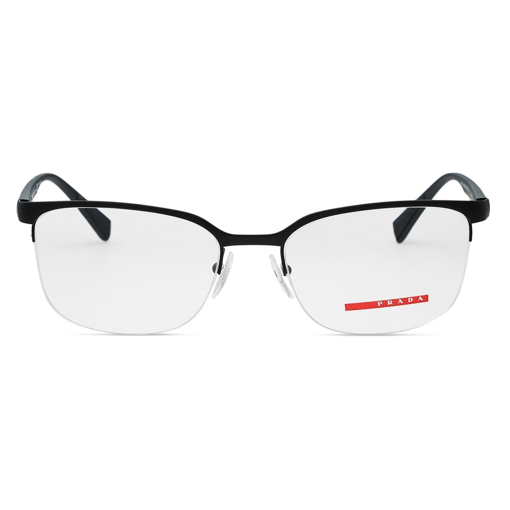 Prada 51IV Eyeglasses A Sporty, Semi-Rimless Style -- These glasses go to show why Prada has been a staple of high fashion for more than a century. Made in Italy, they feature a semi-rimless black rubber composite frame with strips of red on either side. Self-adjusting nose pads and grippy temple tips keep your specs secure and comfortable throughout the day. They come with rectangular demo lenses, and you can bring them to your optometrist to have prescription lenses made and installed.