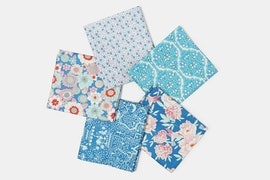 Lemon Tree Fabric Collection - Fat Quarter - Blue/Teal