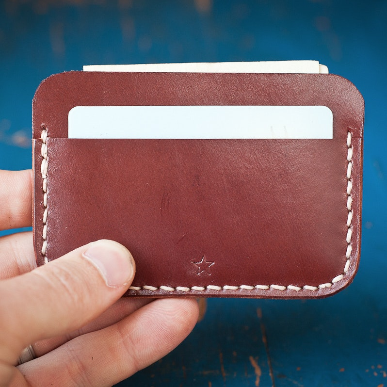 One Star Three Pocket Flat Leather Wallet