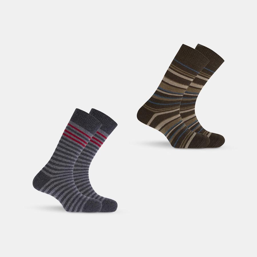 Punto Blanco Lambswool Striped Socks (2-Pack)