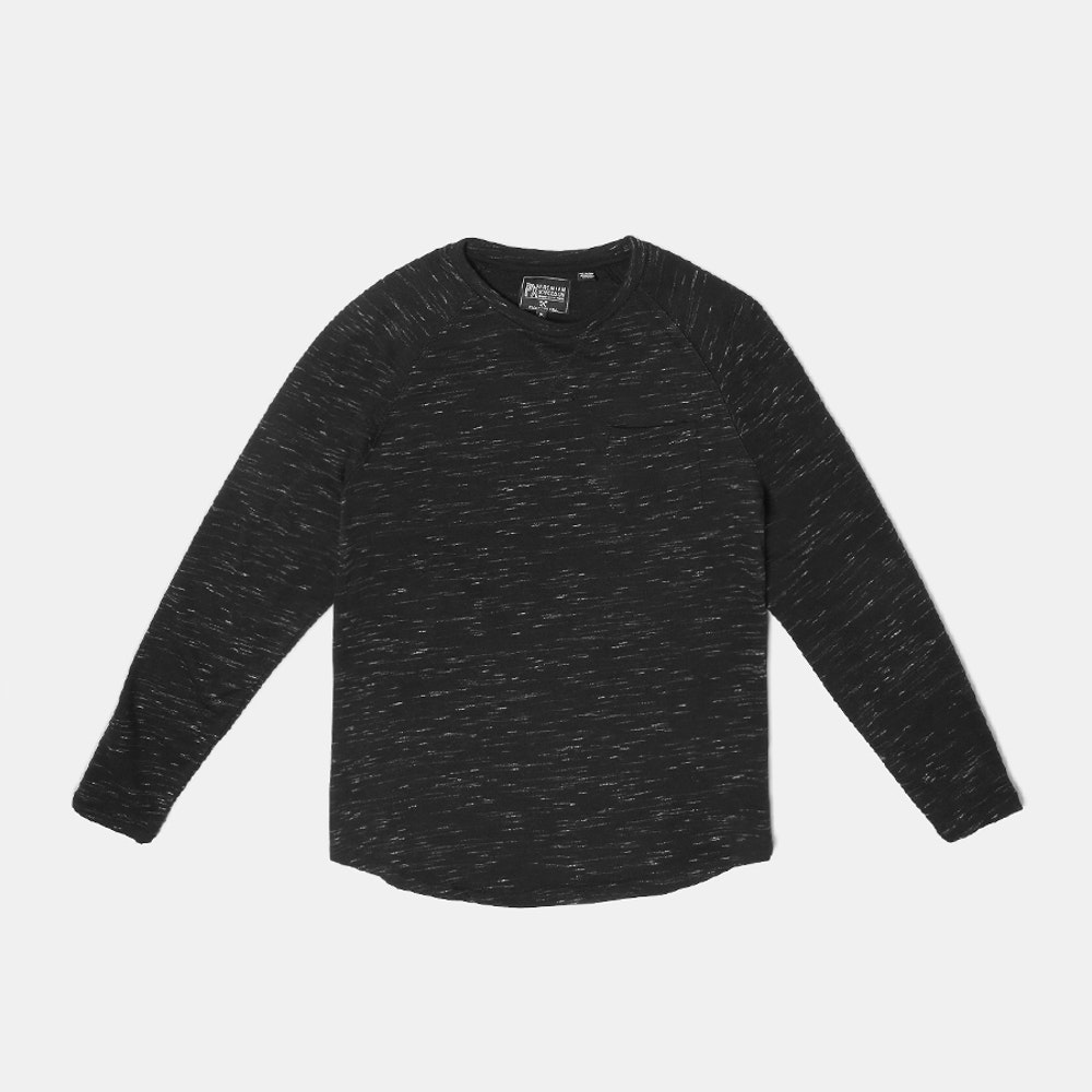 PX Clothing Asher Curved-Hem Pullover French Terry Crewneck -- PX Clothing brings the laid-back, sun-soaked spirit of Southern California into versatile apparel that's comfortable, practical, and always in season. Just take the Asher pullover: a long-sleeve crewneck that looks great layered or on its own. It features a French terry inject-yarn cotton blend, and is tailored in all the right places for a fit that's streamlined but not too slim. Comfortable, convenient details include a curved hem and a chest patch pocket.