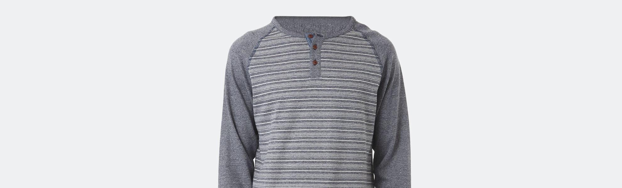 PX Clothing Jimmy Raglan Curved-Hem Henley