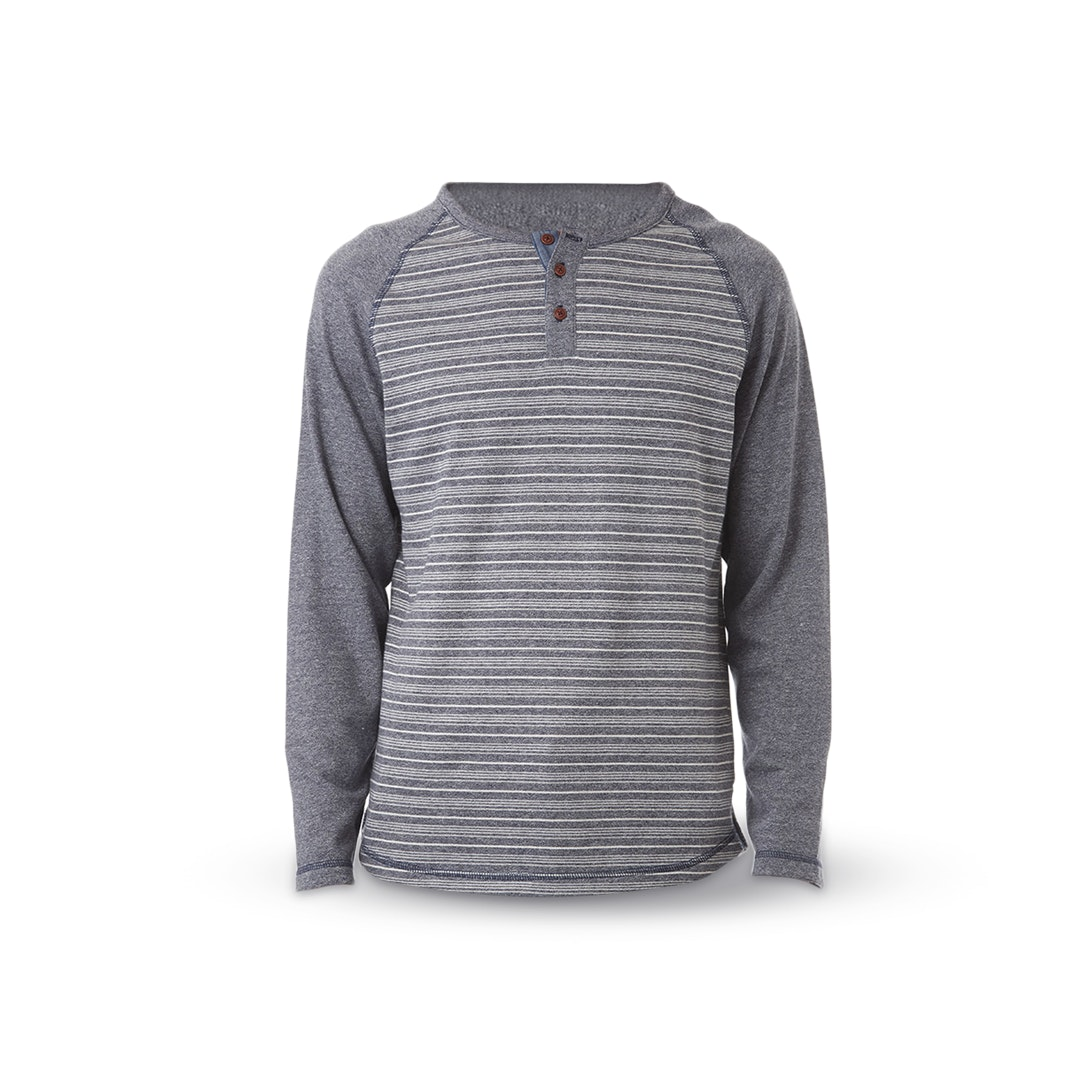 PX Clothing Jimmy Raglan Curved-Hem Henley