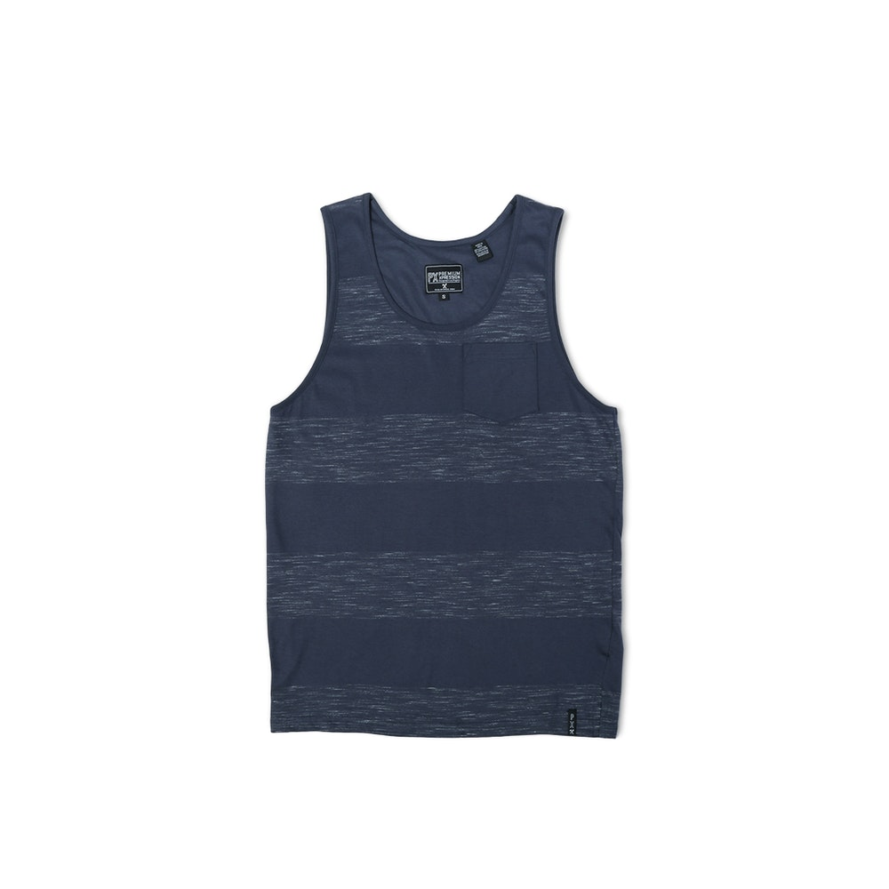 PX Clothing Sonny Tank Top For Easy, Breezy Days -- PX Clothing brings the laid-back, sun-soaked spirit of Southern California into apparel that's versatile, practical, and always in style. Perfect for the warmer months, the Sonny tank top is made of a comfy cotton-polyester blend. The overdyed striped pattern features bold blocks of solid dark blue and heather dark blue. Complete with a patch pocket, this tank is tailored in all the right places for a true-to-size fit that's not too slim.