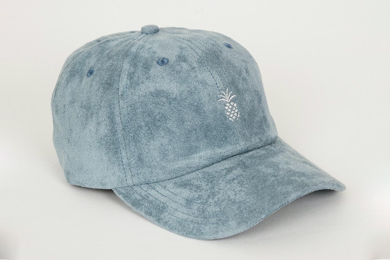 Pineapple Suede Dad Hat - Steel Blue
