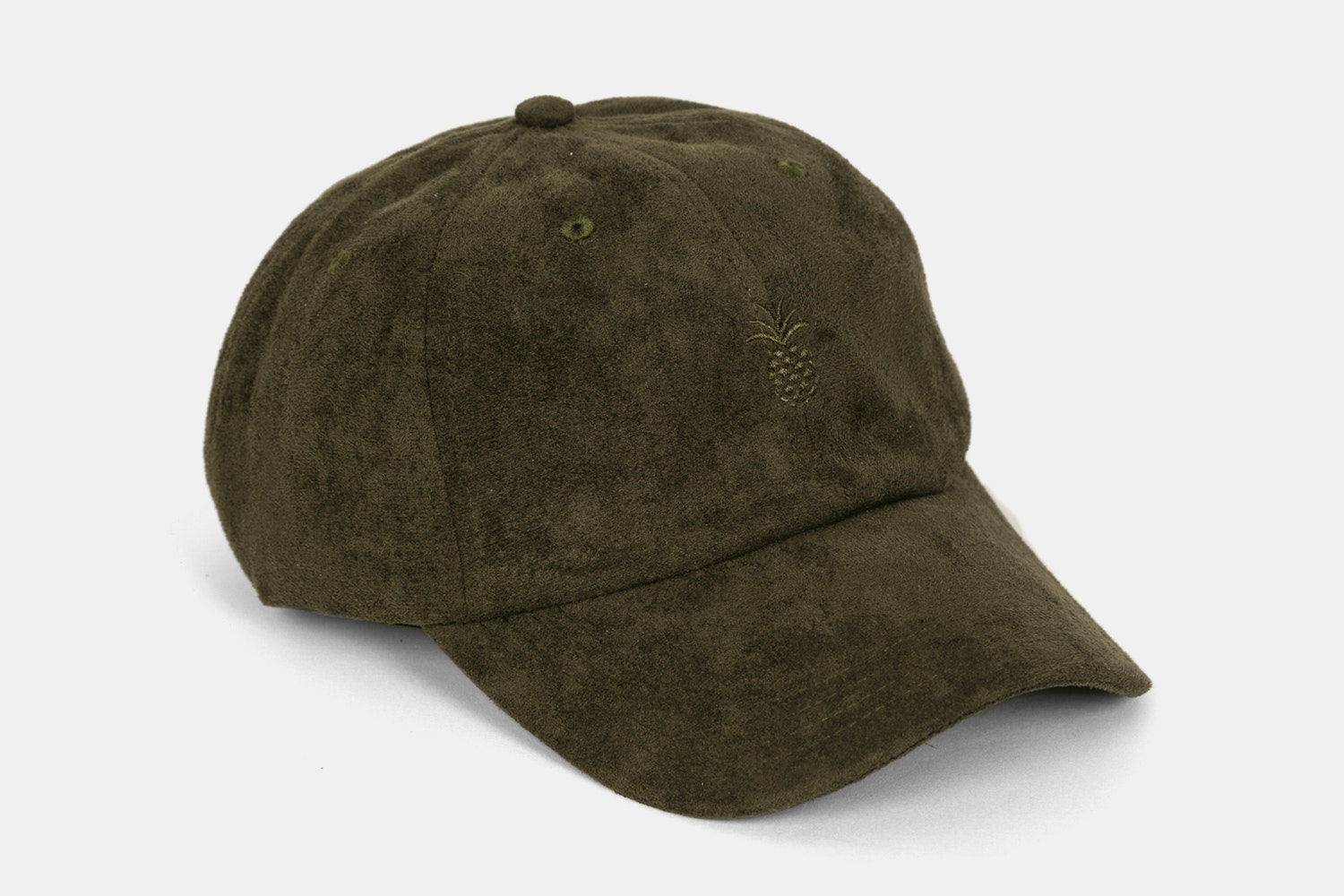 Pineapple Suede Dad Hat - Dark Olive