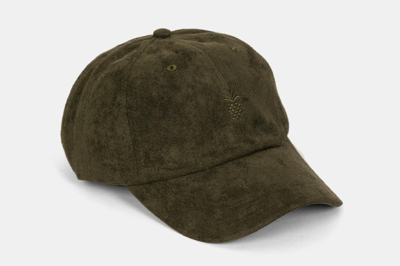 Pineapple Suede Dad Hat - Dark Olive