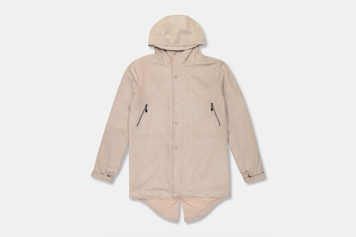 Microsuede Longline Parka in Clay - Clay