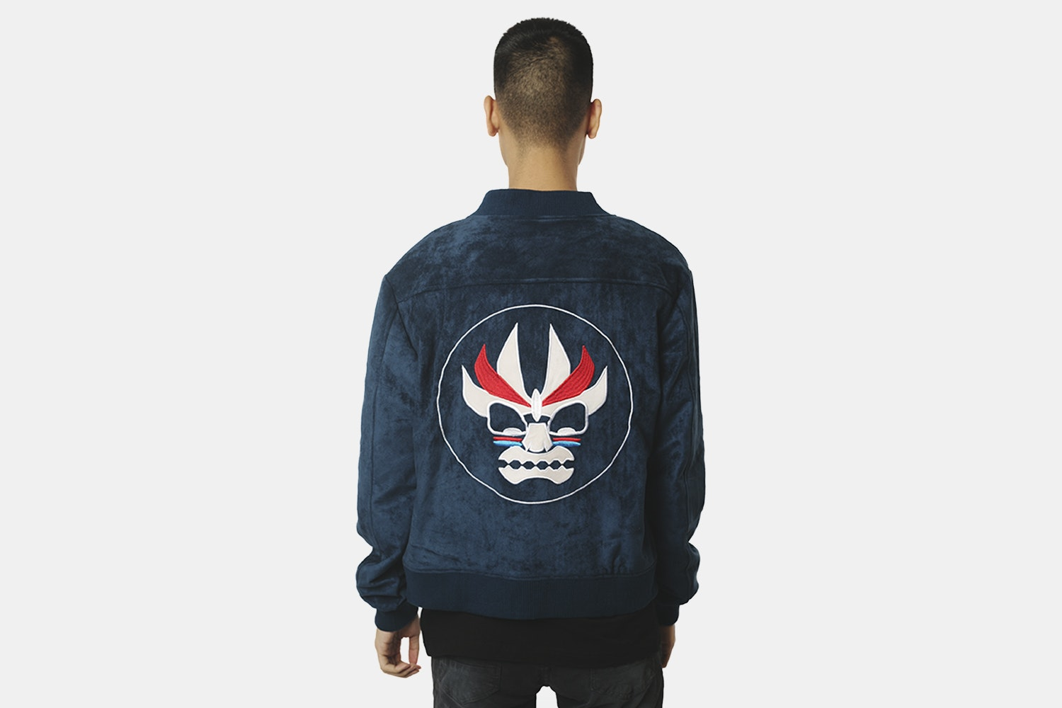 Aku Bomber Jacket (with back embroidery) - Navy  (+ $20)