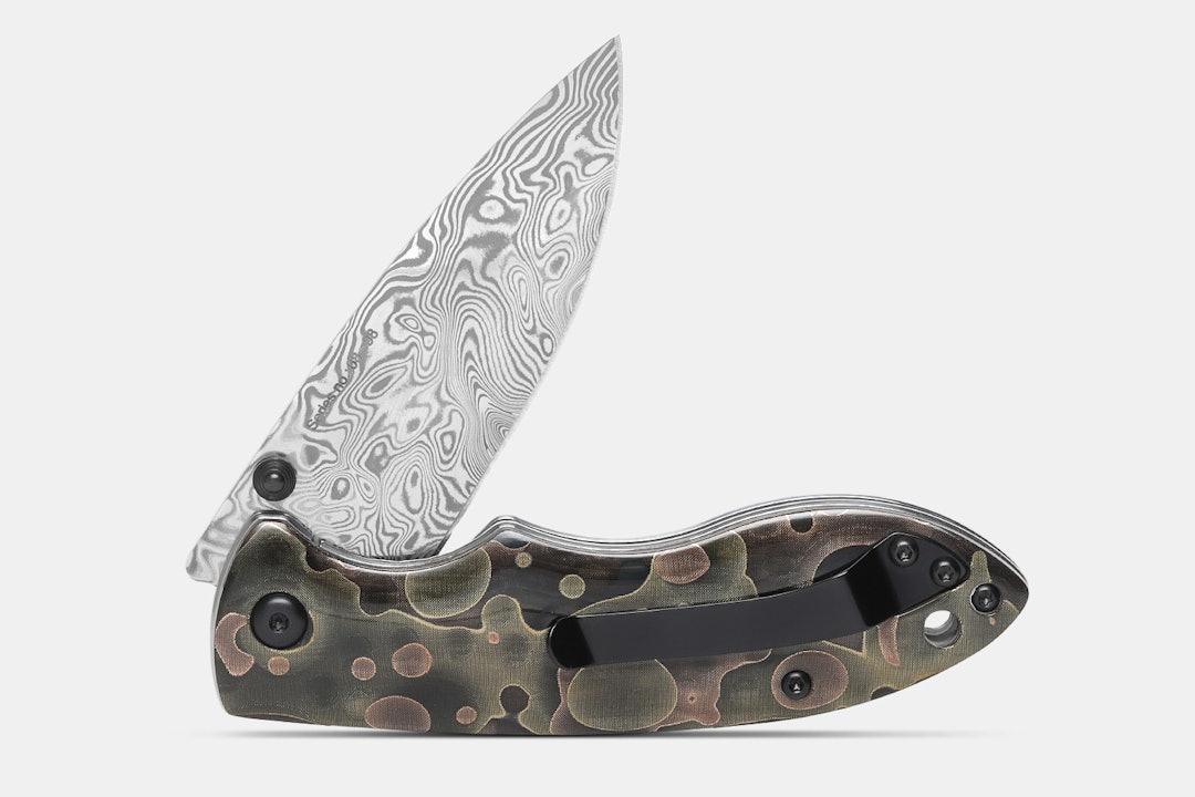 QSP Piglet Raffir Noble & Damascus Liner Lock Knife