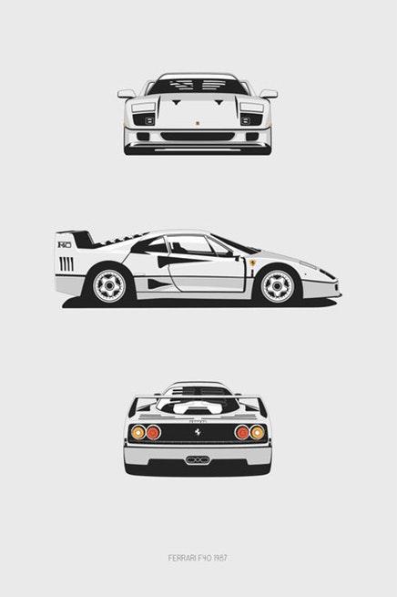 Ferrari F40 Trilogy Print