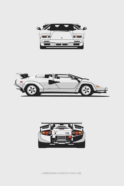 Lamborghini Countach Trilogy Print