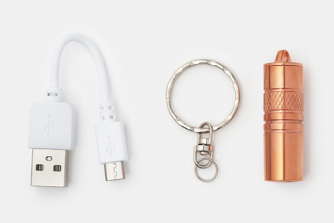 ReyLight USB Copper Keychain Flashlight