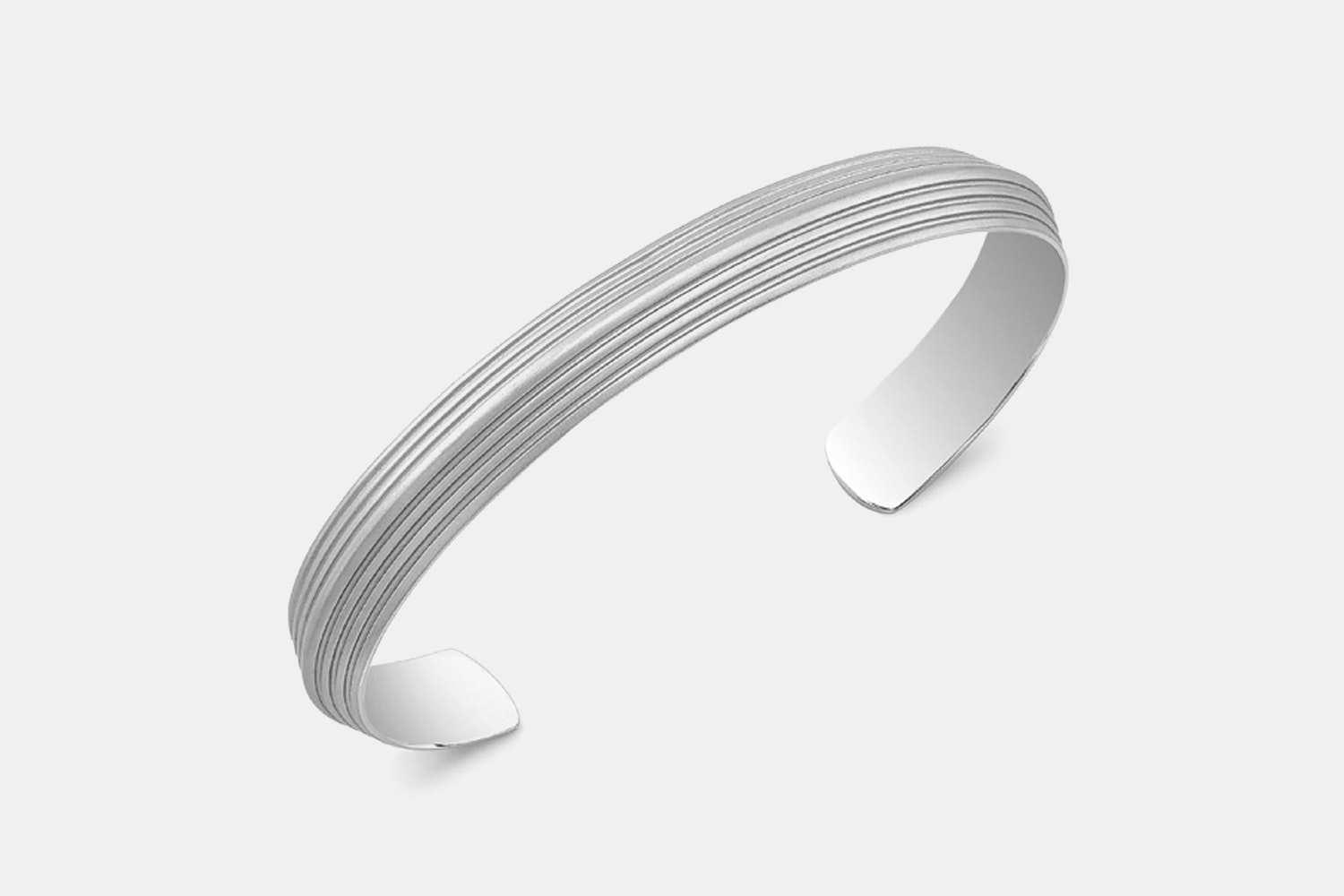 Stainless Steel Blade Striped Wrist Cuff Stainless Steel Matte