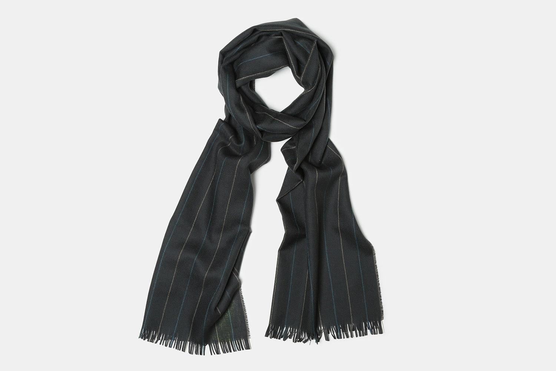 Dark Grey Taupe Blue Stripe 79 X 19 IN