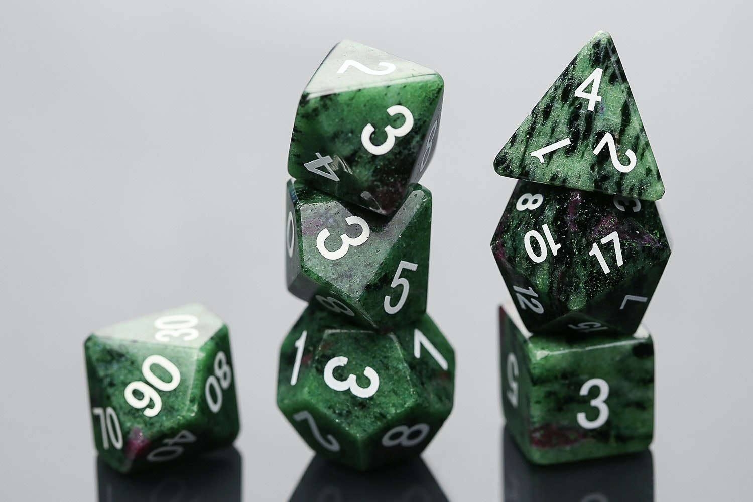 Ruby (Zoisite) Stone Polyhedral Dice Set