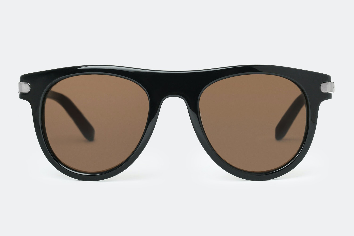 Shiny black frame with brown lenses