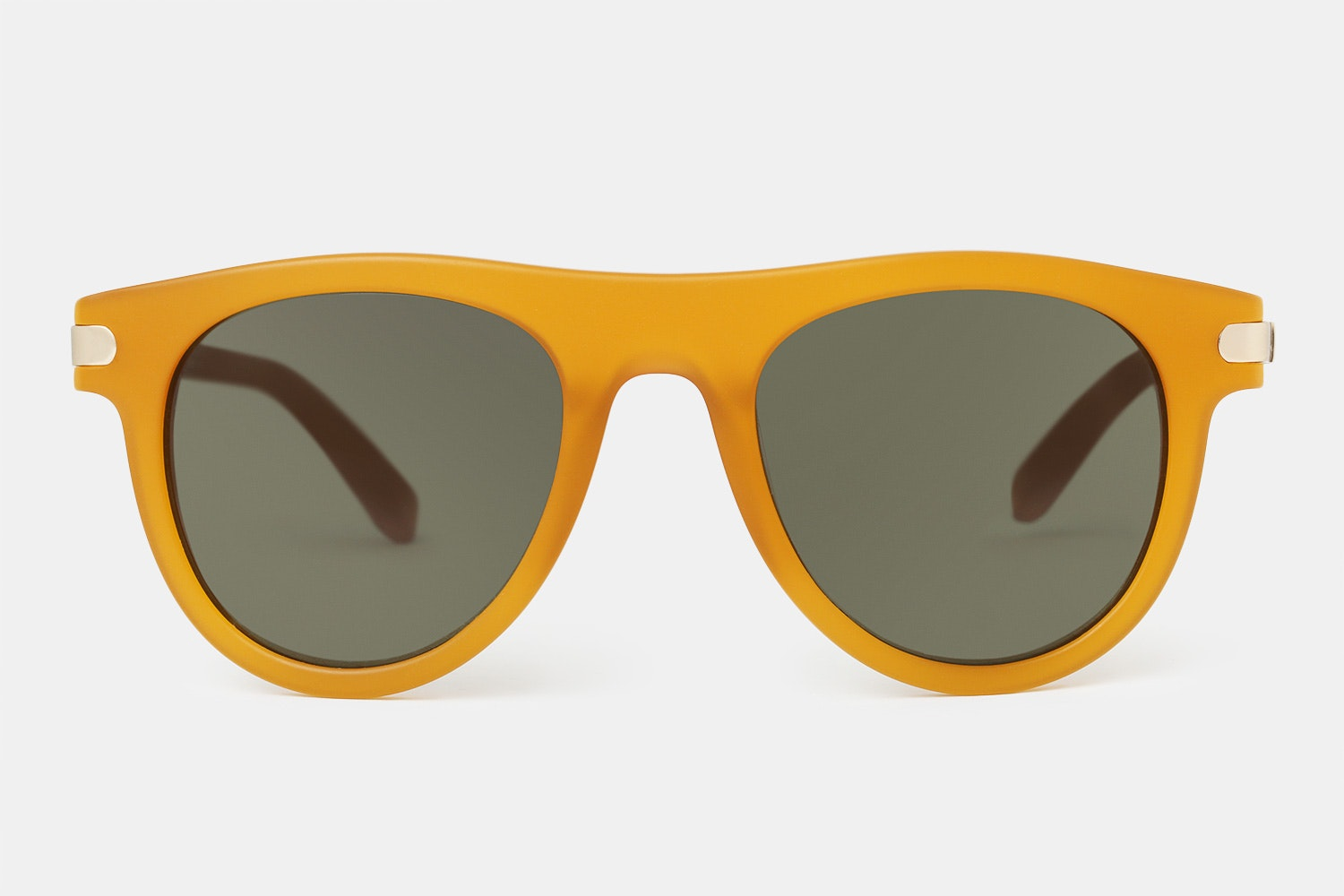 Matte butterscotch yellow frame with gray-green lenses