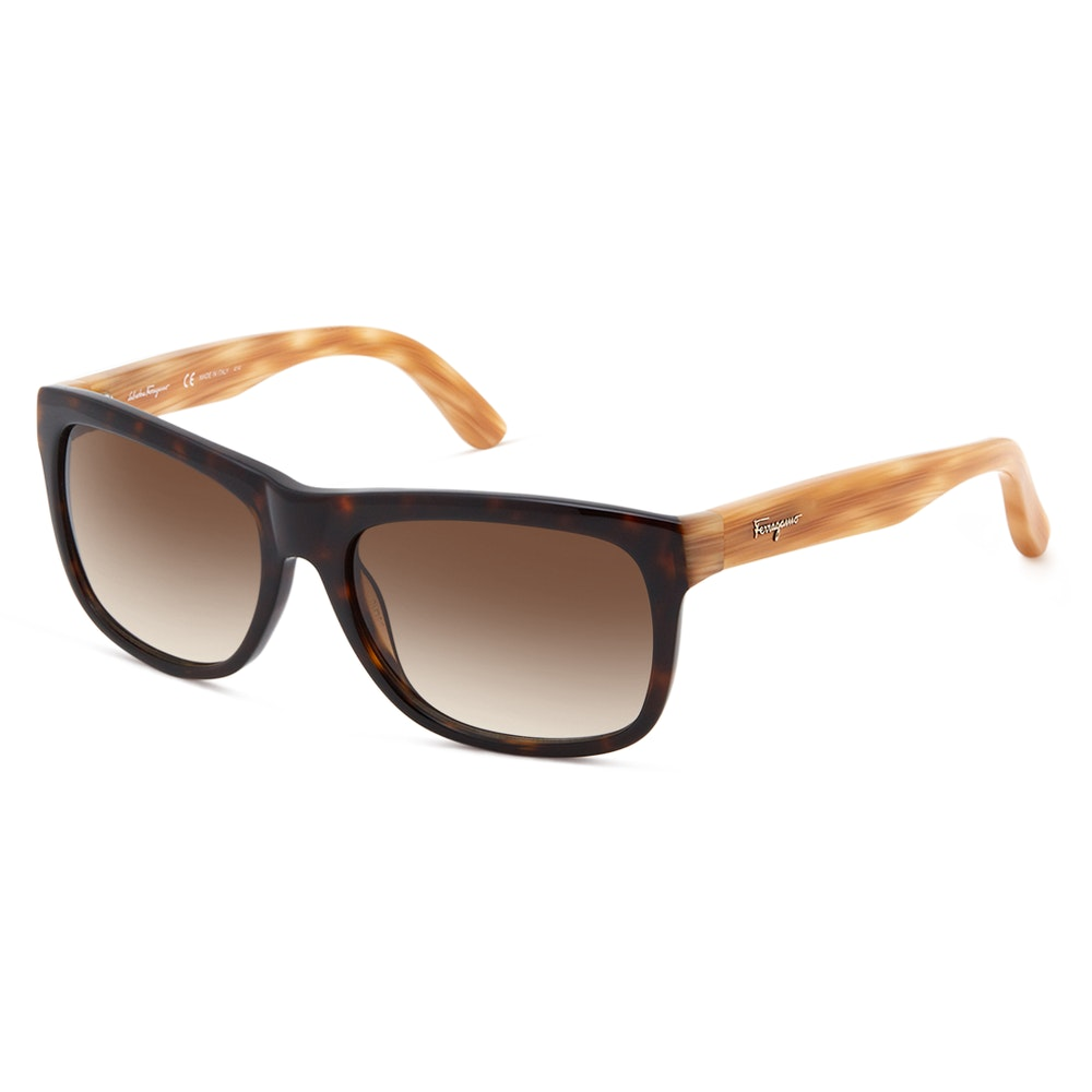 Salvatore Ferragamo SF686S Sunglasses Face-Friendly 2-Toned Frames -- With a rectangular frame suitable for most face shapes, and a richly colored two-tone colorway, the SF686S sunglasses from Italian fashion house Salvatore Ferragamo make an excellent choice for a sunny day. They feature an acetate frame that transitions from black to a sandy tortoise color. On the temples, you'll find the signature Ferragamo logo.