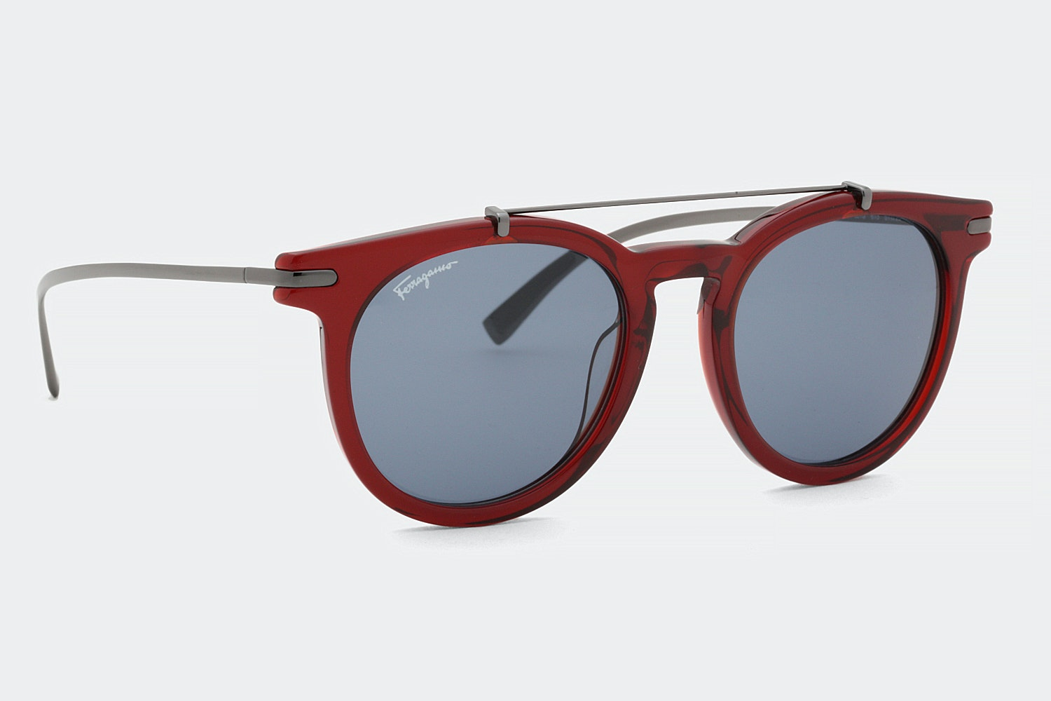 Red frame with blue lenses