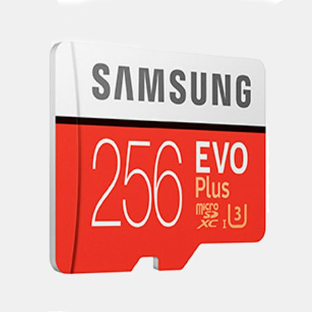 Samsung 256GB Micro SDXC EVO+ 100MB/s Fast, Reliable & Loaded With 256GB -- Maxing out your smartphone's memory? Taking lots of HD or 4k footage? Need space for your music library? The Samsung 256 GB Micro SDXC EVO+ has you covered. With 256 gigs capacity, it drastically expands the storage of Android smartphones, 4K cameras, drones, and more. And with fast read and write speeds up to 100 MB/s, it quickly transfers files of any kind. It's also water-resistant and temperature proof, so your data is safe and sound wherever you venture.