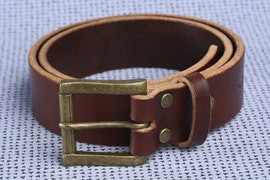 "1.5"" Wide Mahogany with Antique Brass Buckle"