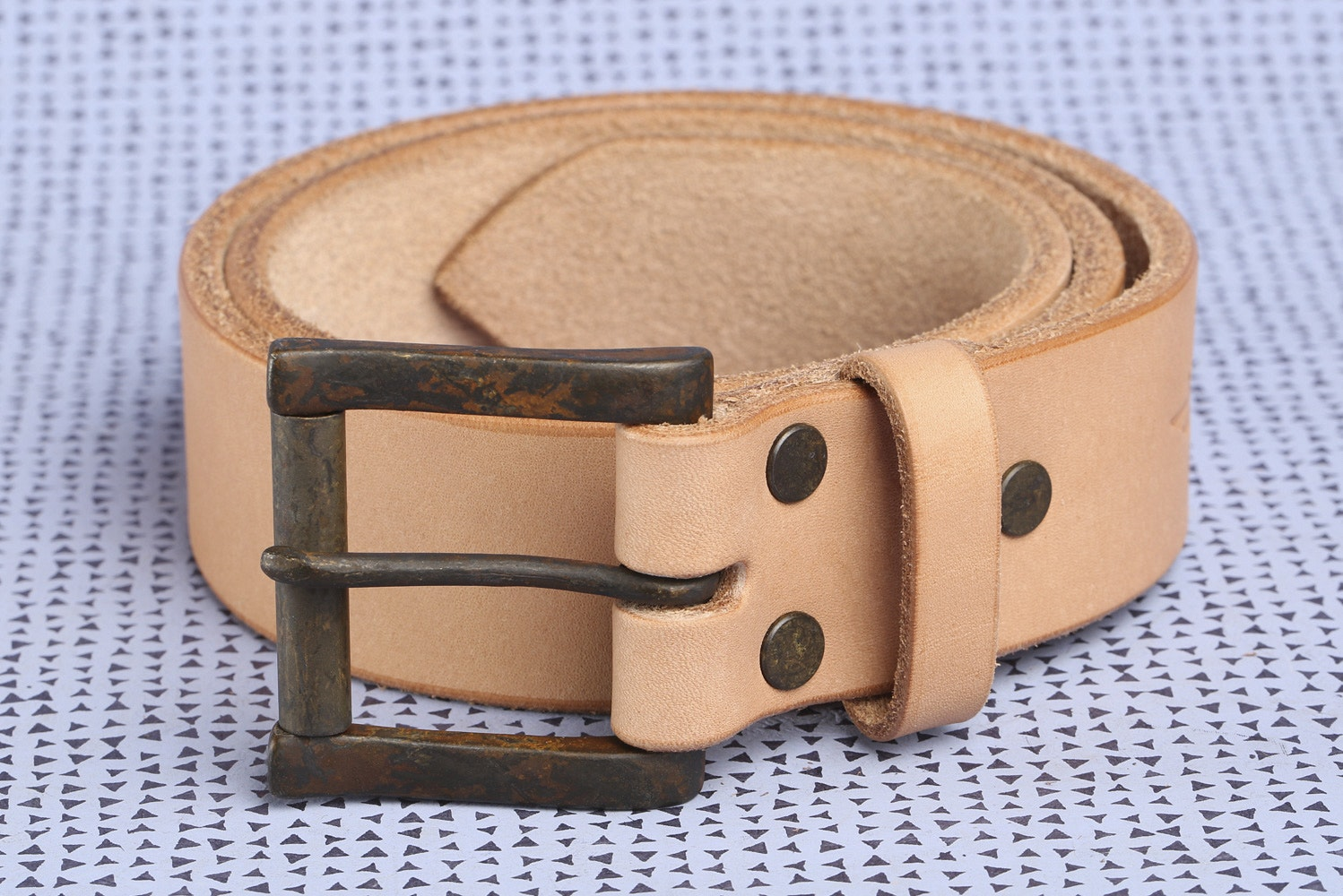 "1.5"" Wide Natural with Iron Rust Buckle"