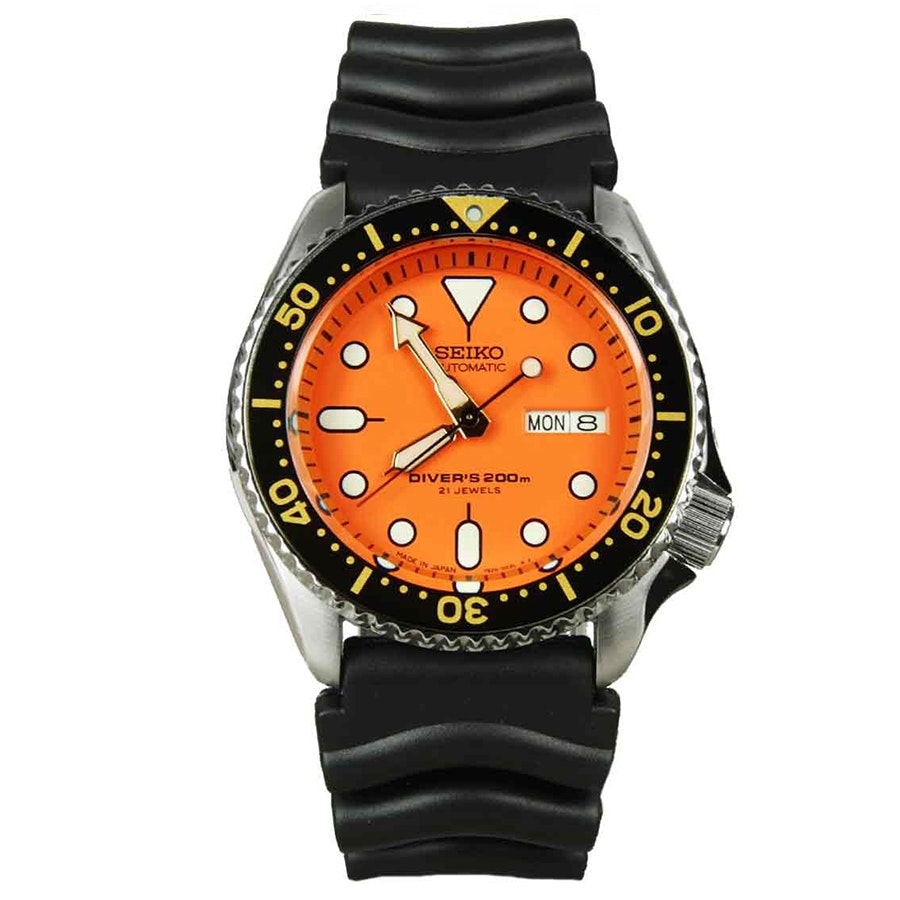 SKX011J1 | Orange Dial, Black Bezel, Rubber Strap (+$30)