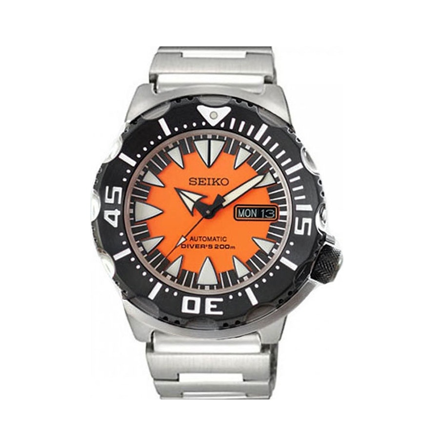 Orange, PVD IP Bezel, Steel Bracelet SRP315K2 (-$8)