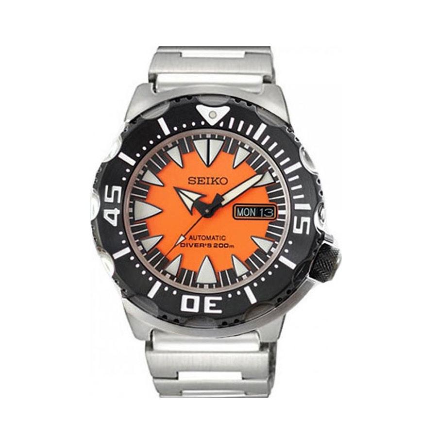 Orange, PVD IP Bezel, Steel Bracelet SRP315K2 (-$8)