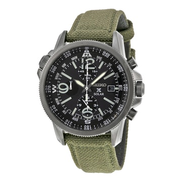 PVD Ion Plated Black Case, Green nylon strap SSC295 (+$20)
