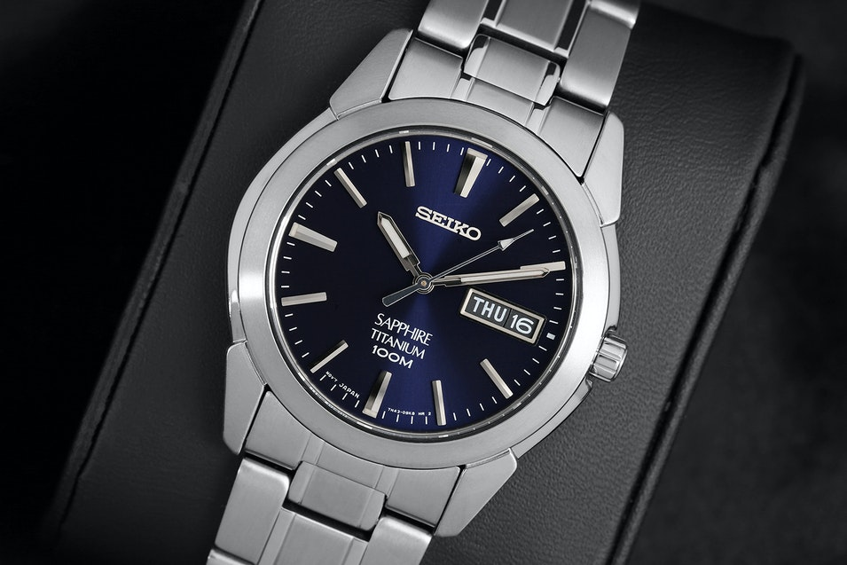 titanium men accessories in for dress blue watch watches lyst quartz seiko
