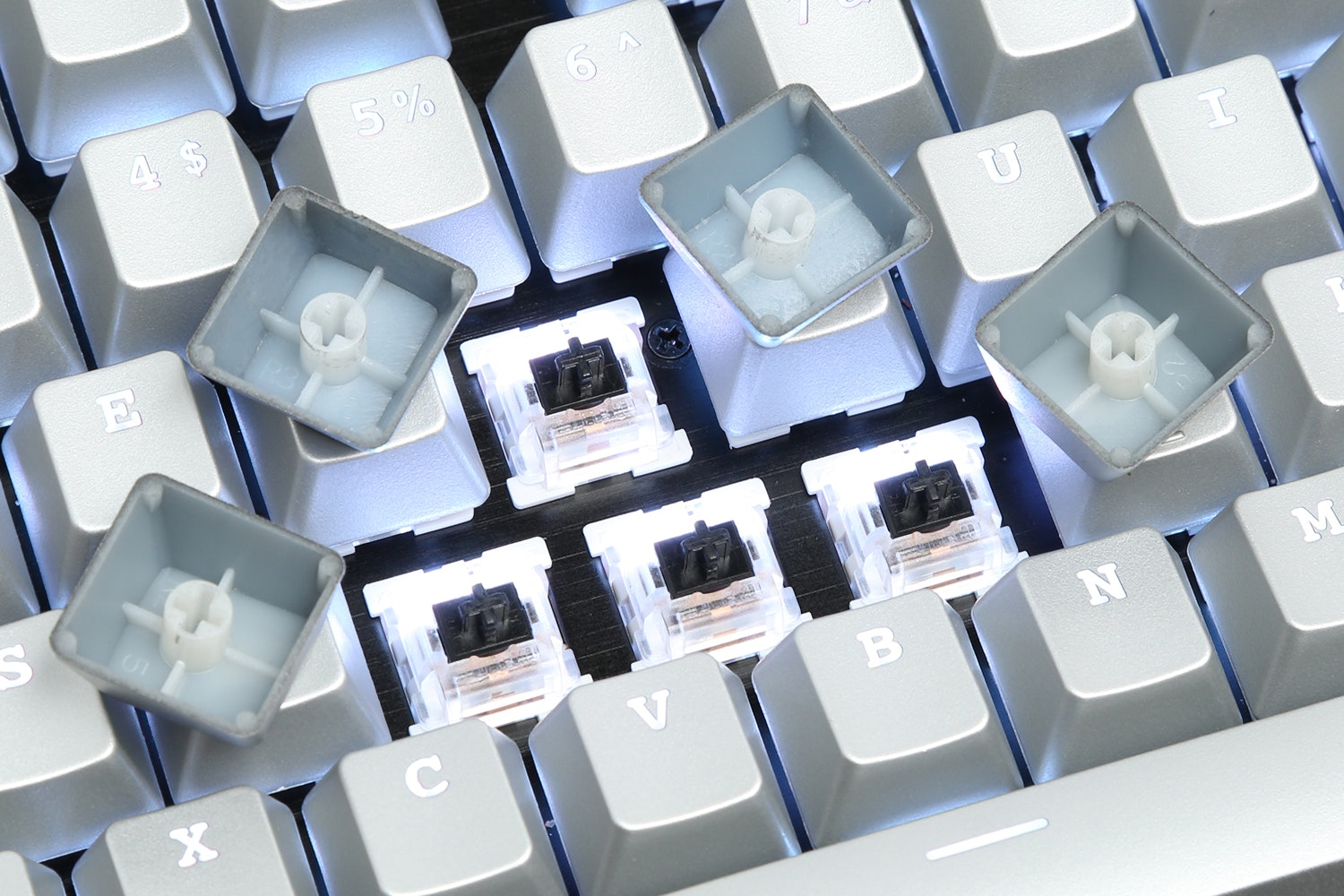 Silver ABS Shine Through Keycap Set