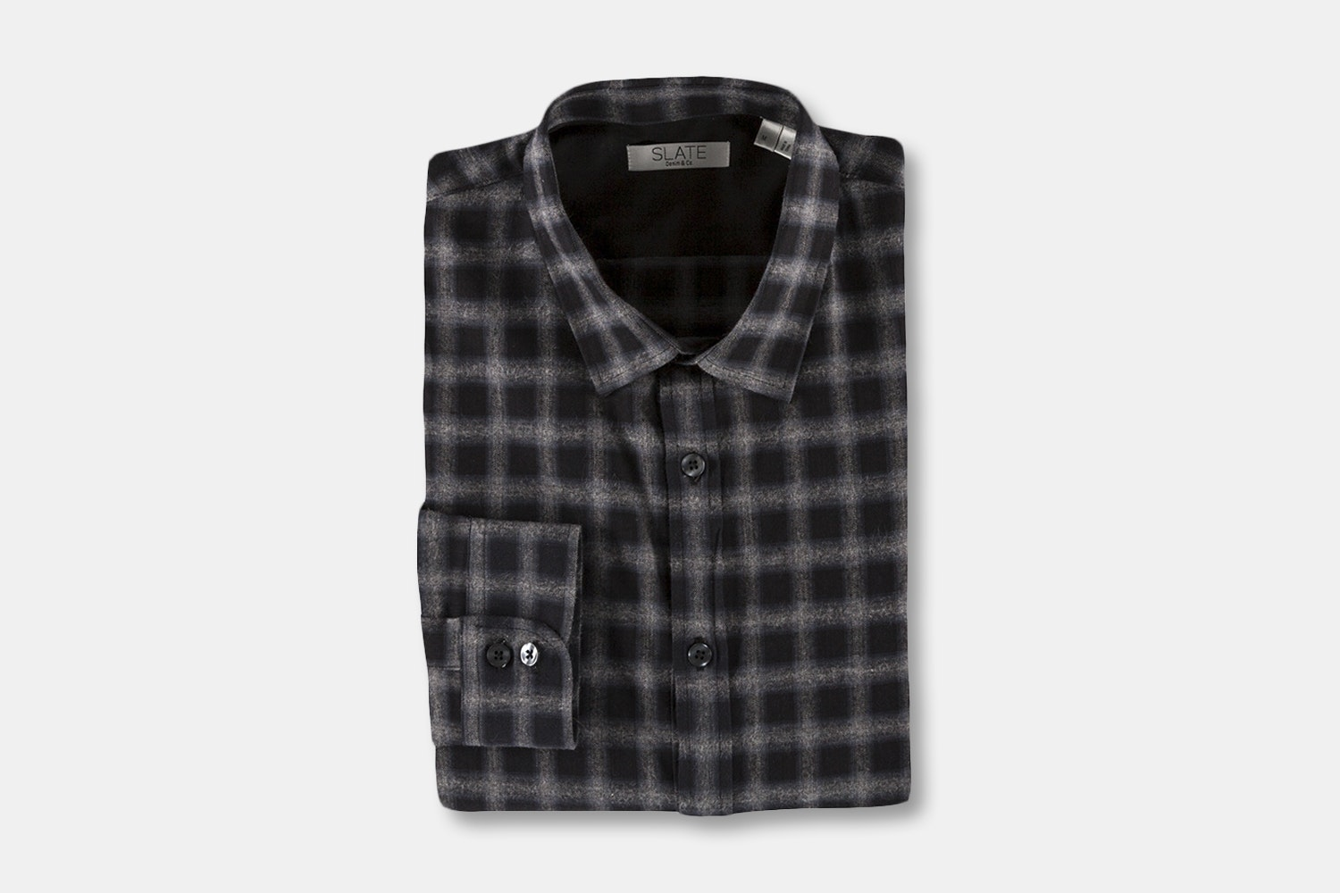 Men's LS Brushed Heather Twill Plaid Button Front  - Black