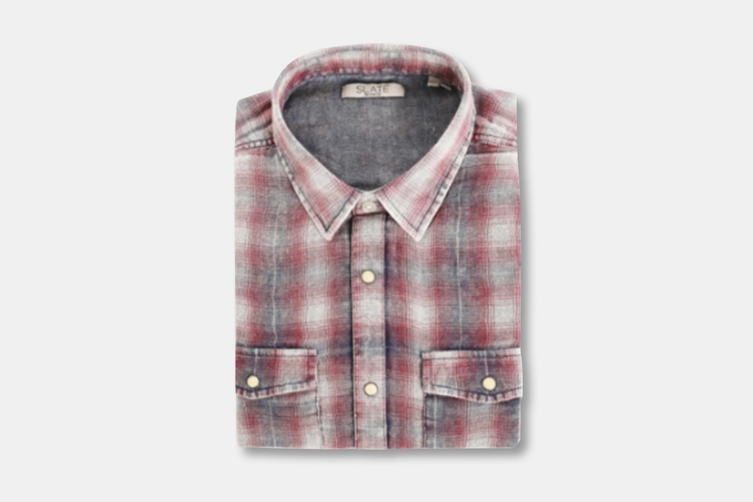 Men's LS Button Front Twill Buffalo Check - Red