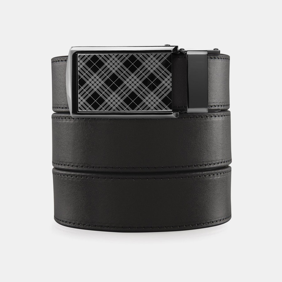 Onyx Full Grain – Plaid Buckle (+ $30)