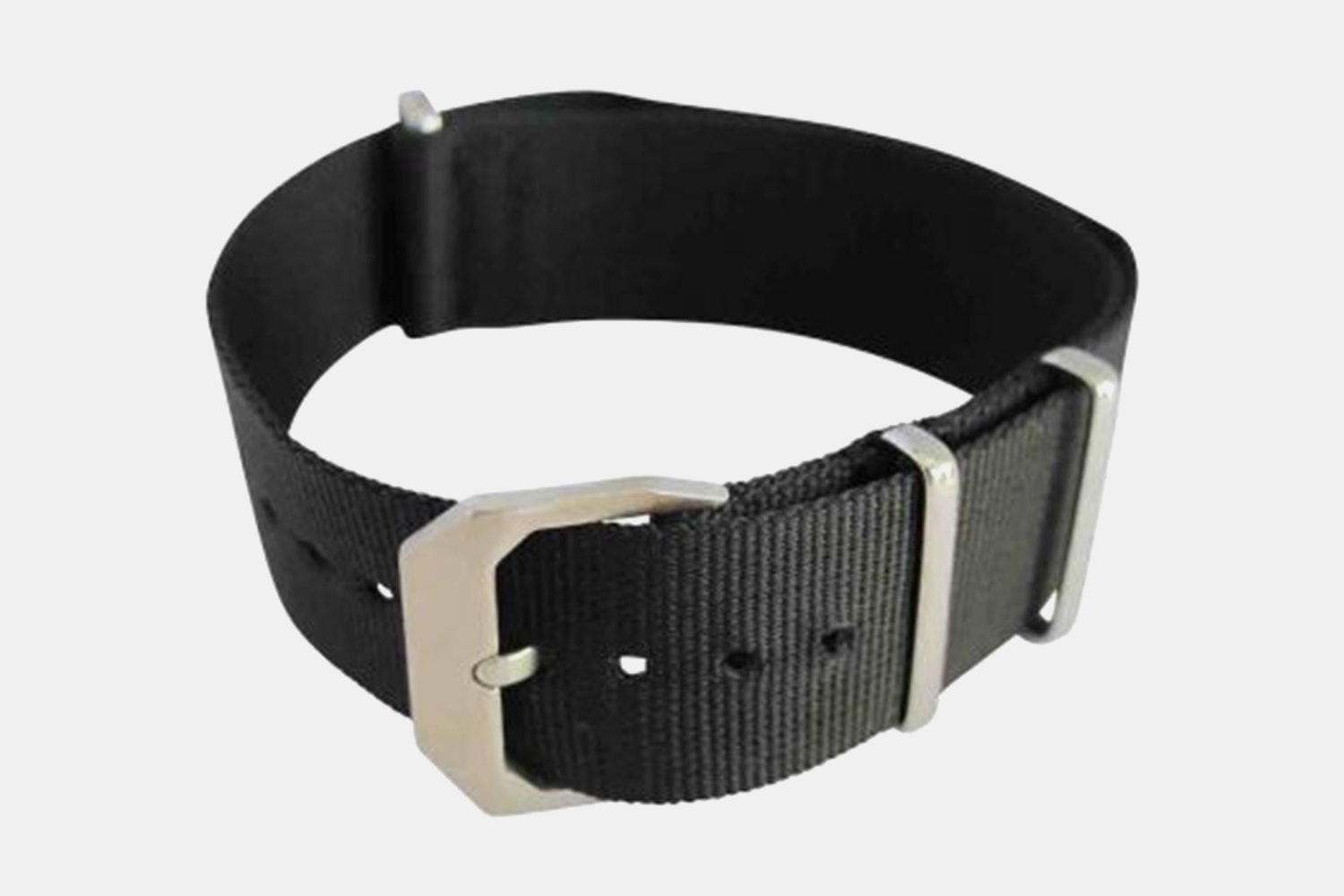 Black Nylon Strap, Silver Buckle