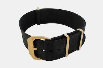 Black Nylon Strap, Gold Buckle
