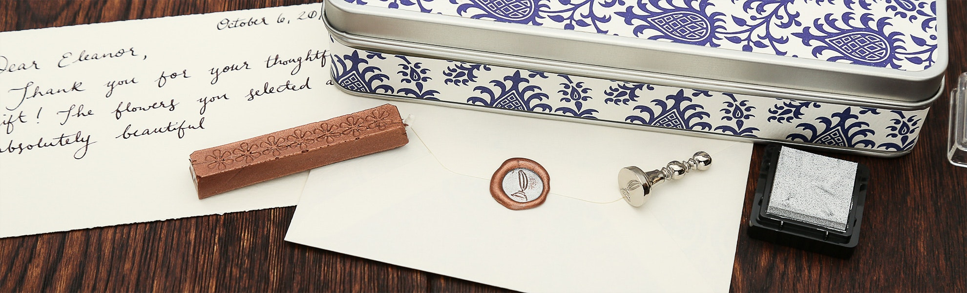 Small Decorative Wax Seal & Ink Pad Set