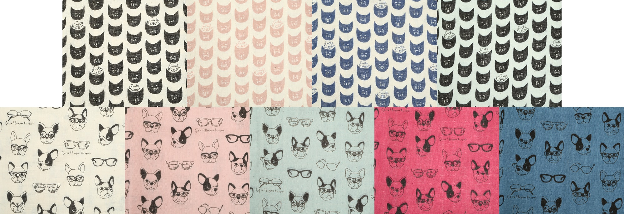 Soft Animals Double-Gauze Half-Yard Bundle by Kokka