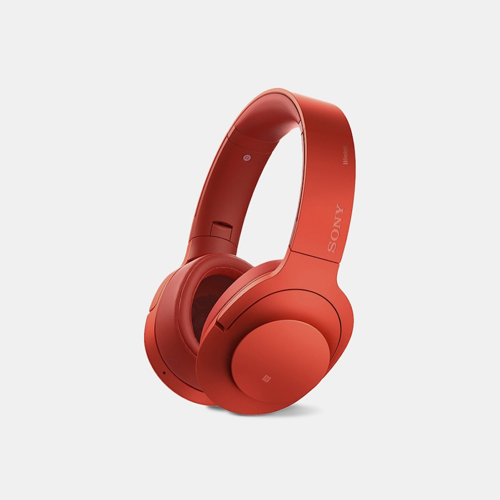 Sony MDR100ABN Wireless Noise-Canceling Headphones Comfort & Clarity, Free of Wires -- Part of Sony's high-end  h.ear on  line, the MDR100ABN's offer high-resolution audio in a comfy wireless design over Bluetooth 4.0. These headphones capture music at a higher rate than CD, with more frequent and more accurate audio samples per second. The result is super-clear audio across any genre. If you're in a crowd, on the train, or anywhere noisy, not to worry: Sony's noise-canceling technology actively cuts out unwanted sound. Beat Response Control offers tight and punchy bass for those tracks that thrive on the lows. You can even take calls and control your music without taking out your phone thanks to the built-in mic and onboard controls. The draped ear pads and adjustable band contribute to long-lasting comfort.