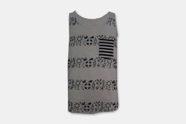 Mens Tank Top - Sangria - Striped Grey