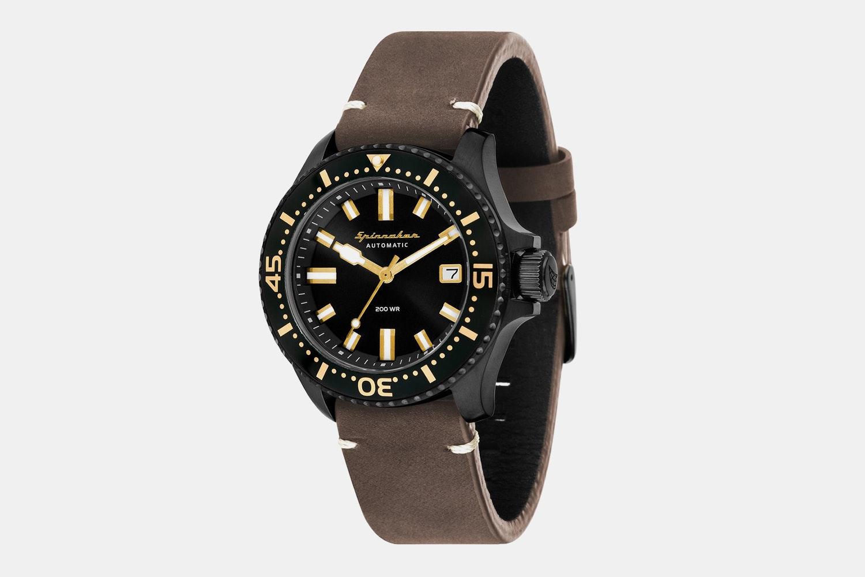 SP-5039-05 | Black Case, Black Dial, Black Bezel, Brown Leather Strap
