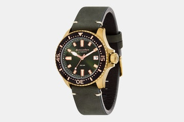 SP-5039-06 | Brass Case, Black Dial, Black Bezel, Dark Green Leather Strap